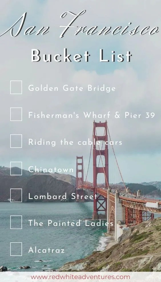 San Francisco Bucket List that can be used for Instagram Stories.