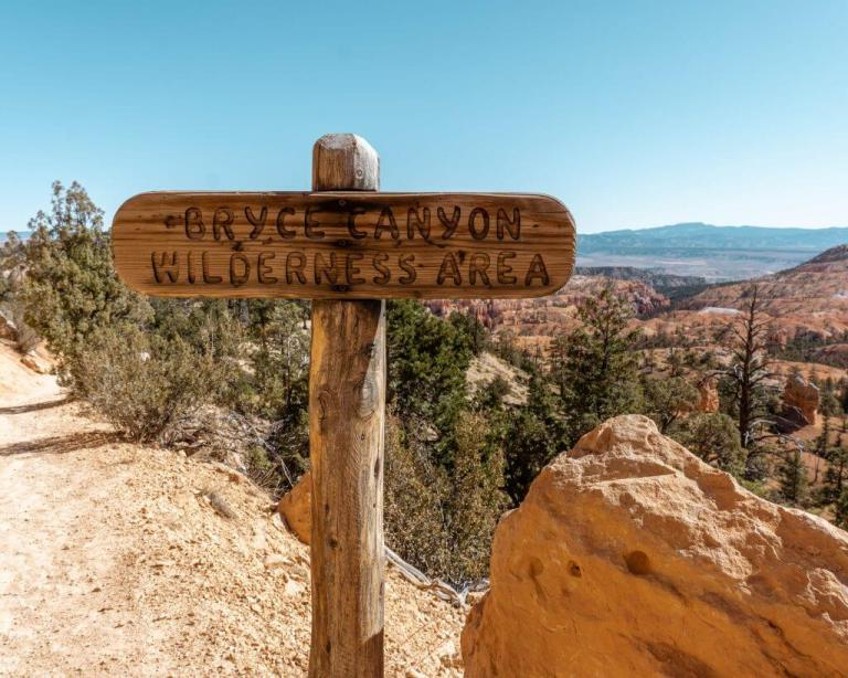 Bryce Canyon Wilderness Area sign.
