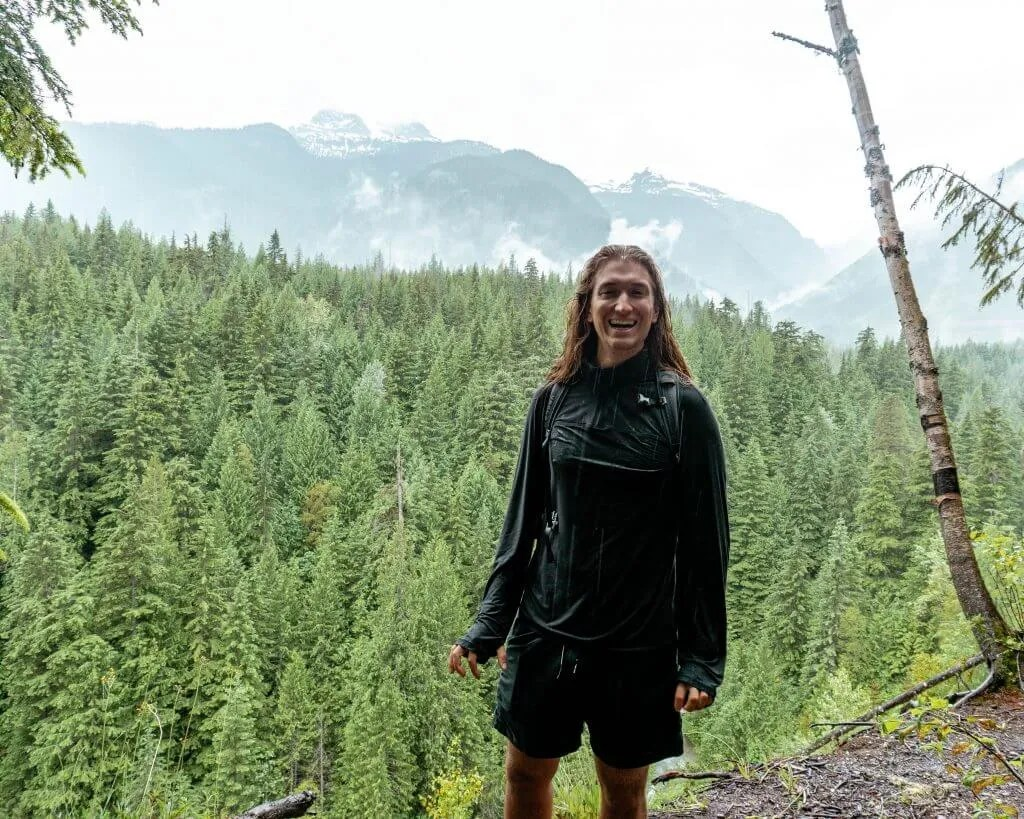 Dom soaked and hiking in Revelstoke.