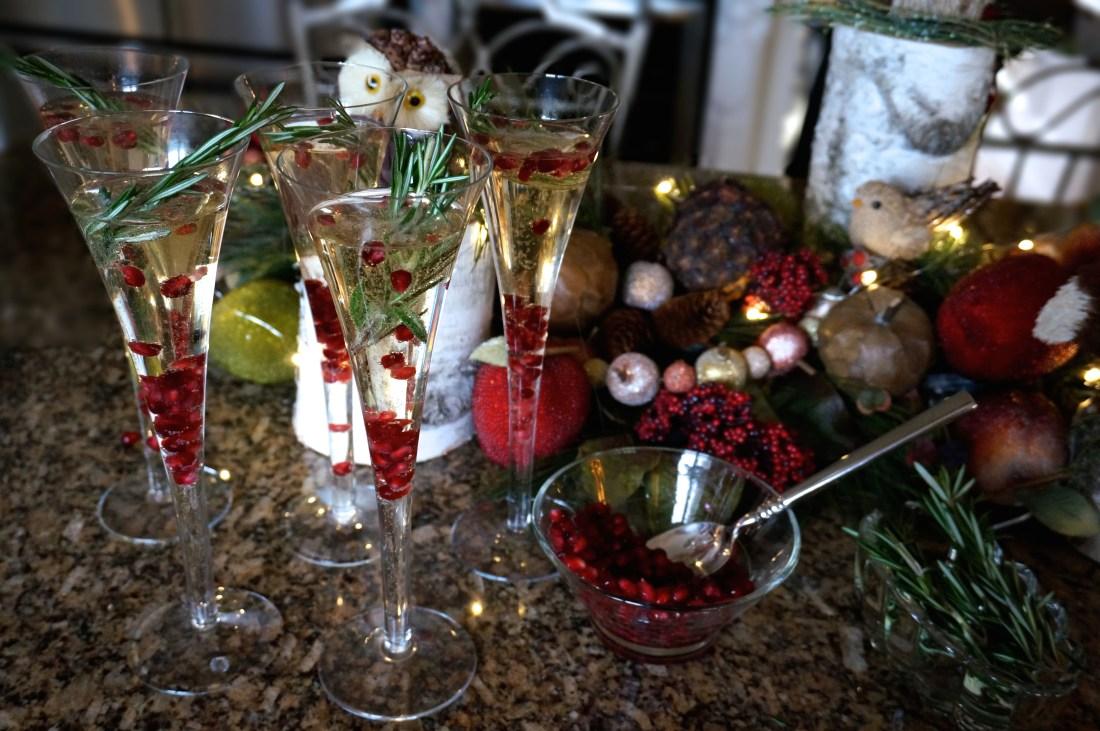 6 Festive Christmas Champagne Cocktail Recipe Pomegranate Rosemary copy