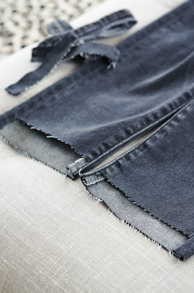 How to cut the hem off jeans