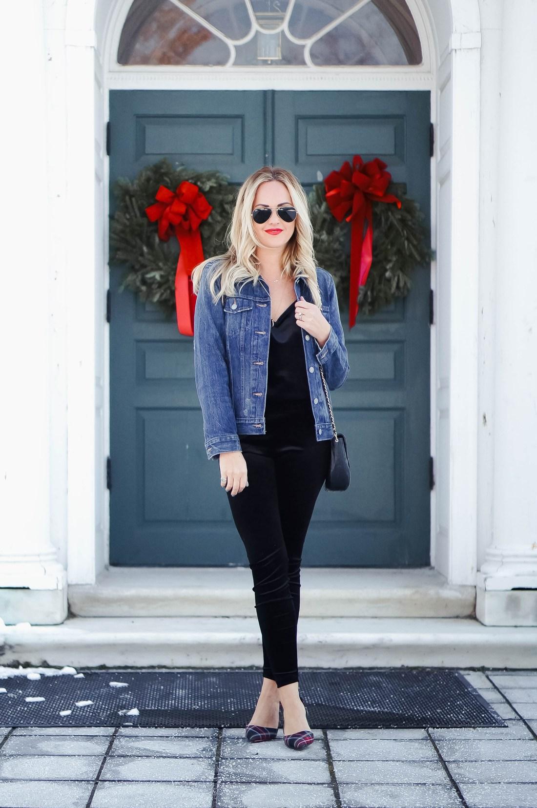 Velvet And Denim Outfit Idea