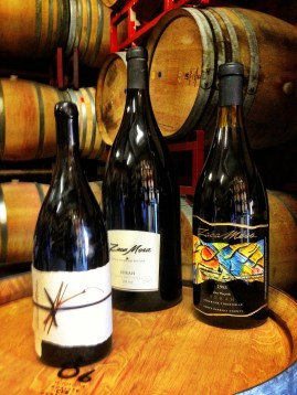 Large bottles of Zaca Mesa's signature library wines. Their 1993 Syrah earned the #6 spot on Wine Spectator's Top 10 of 1995