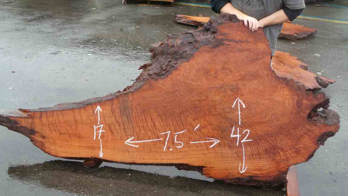 Redwood Burl Artsy Raw Wood Desk Top Slab