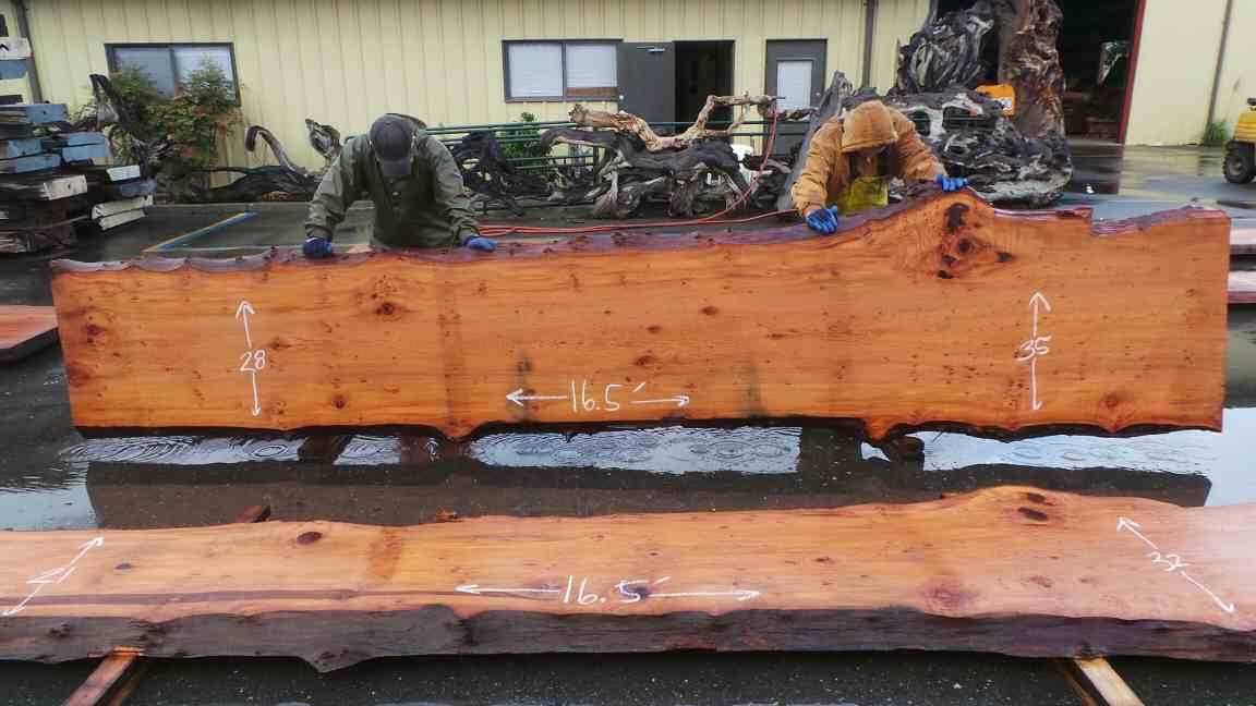 Large Wood Kitchen Island - Redwood Log Slab