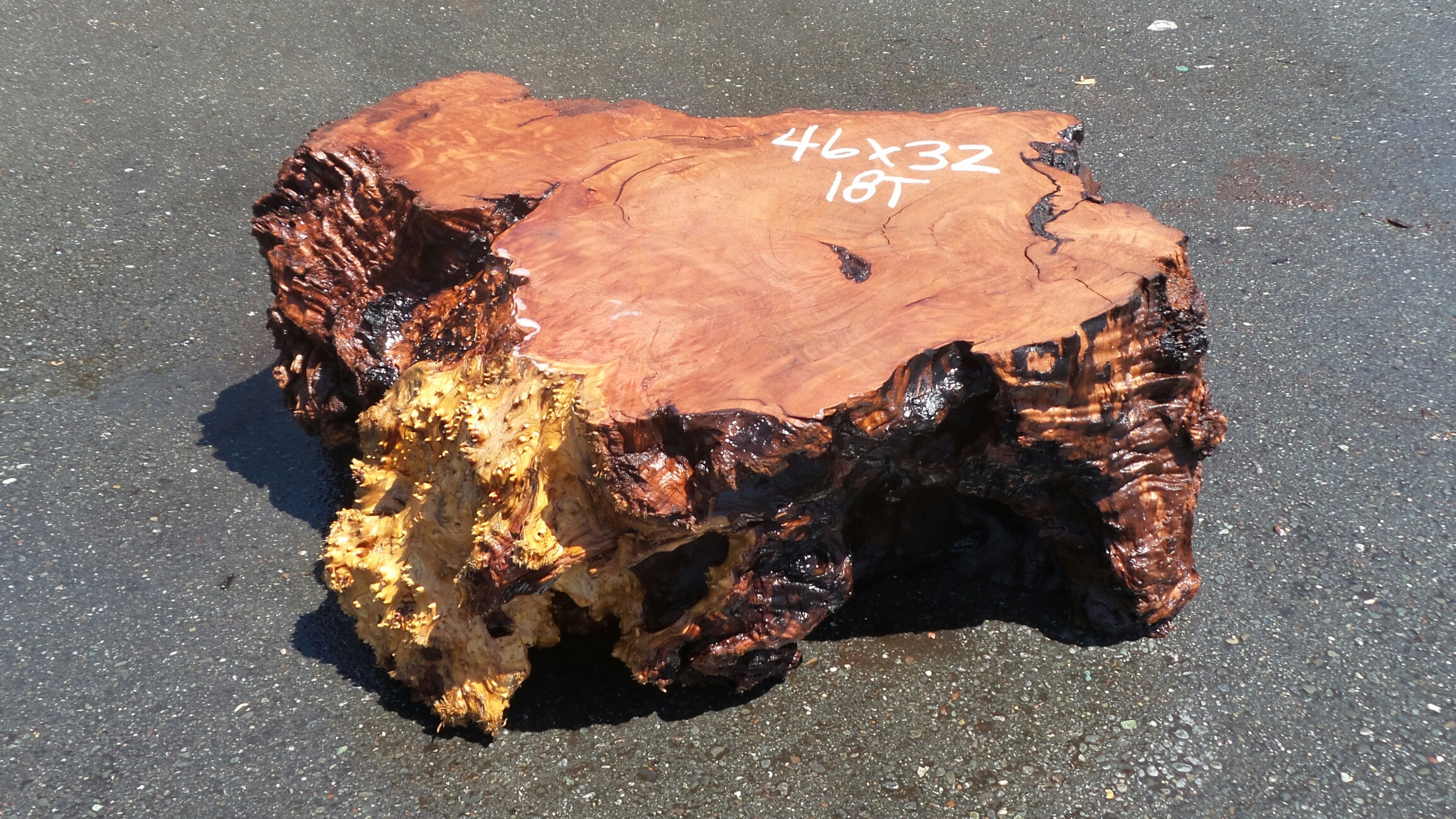 Low Wood Stump Table Base - Truncated Redwood Log