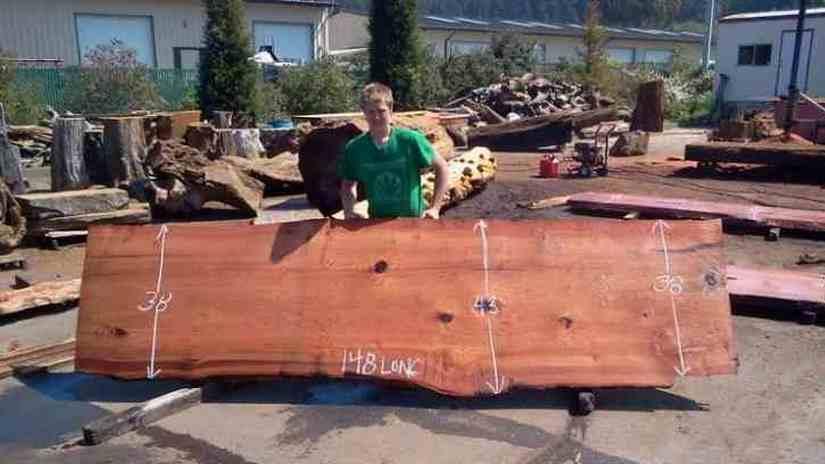 Redwood Slab   Rustic Rectangular Dining Table Sized