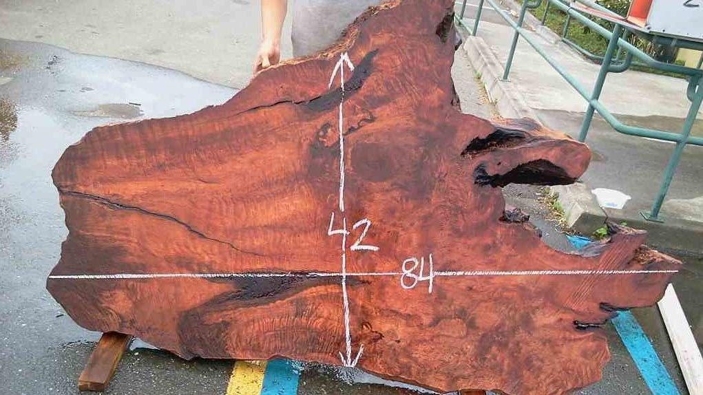 Redwood stump slab for rustic coffee table