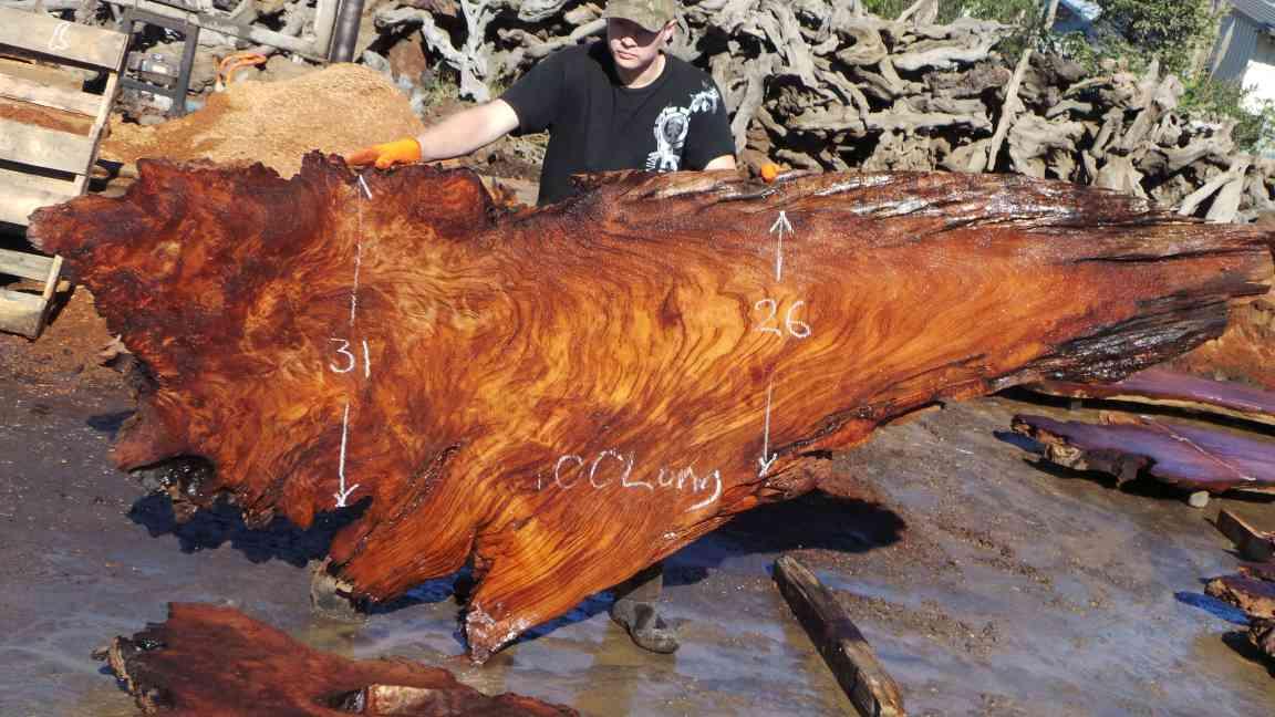 Live Edge Wood Slab Dining Table - Old Growth Redwood Slab