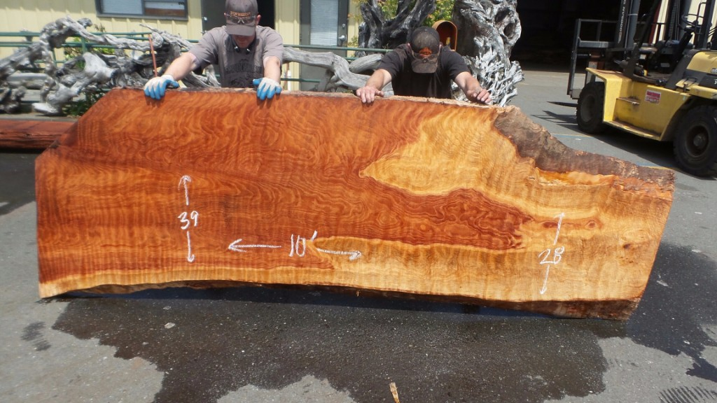 Rough Edge Dining Table Slab - Curly Grain Redwood
