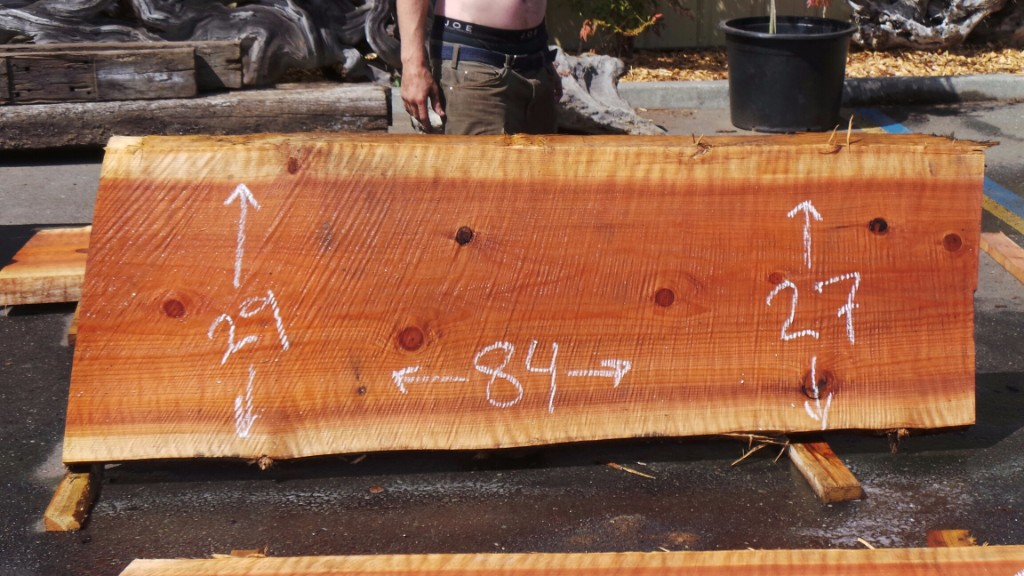 Two Tone Wood Counter - Redwood Slab for Custom Rustic Counter Top