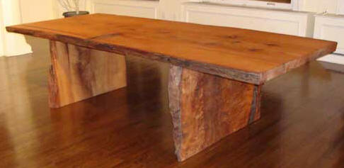 dining table with redwood slab legs