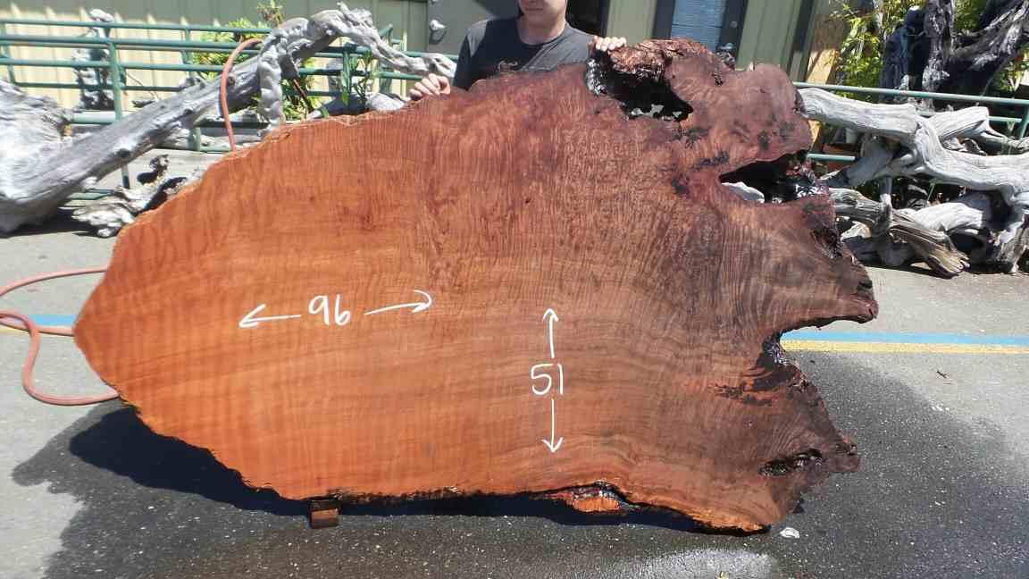 Live Edge Farm Table - Color Contrast Redwood Burl Slab