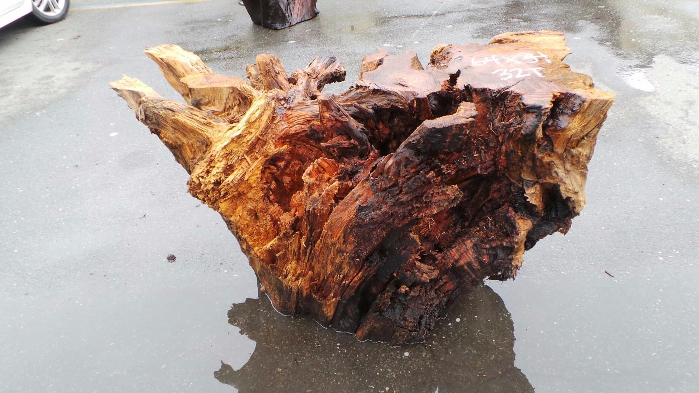 Rustic Figured Table Base - Wood Pedestal Table Base
