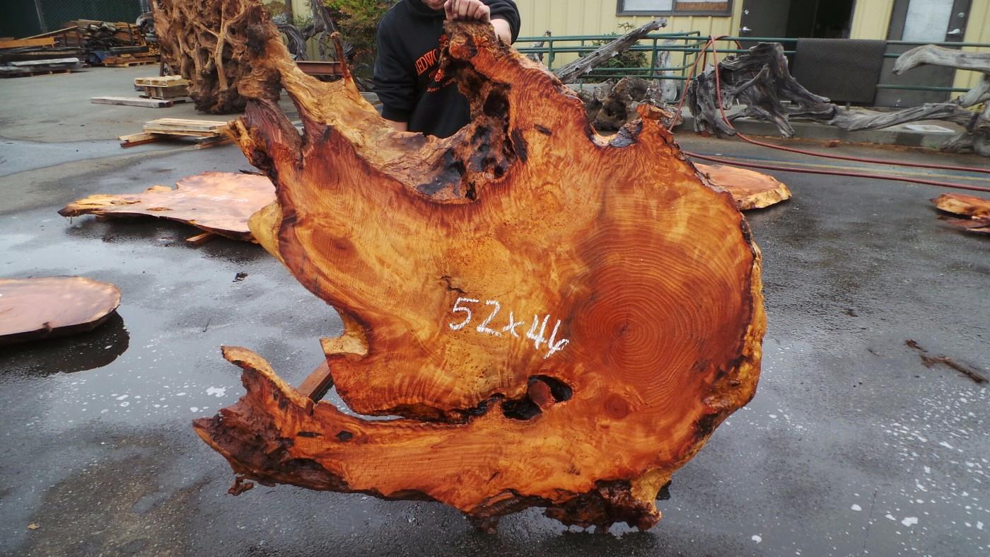 Natural Edge Single Wood Slab Table - Redwood Rustic Surfaces