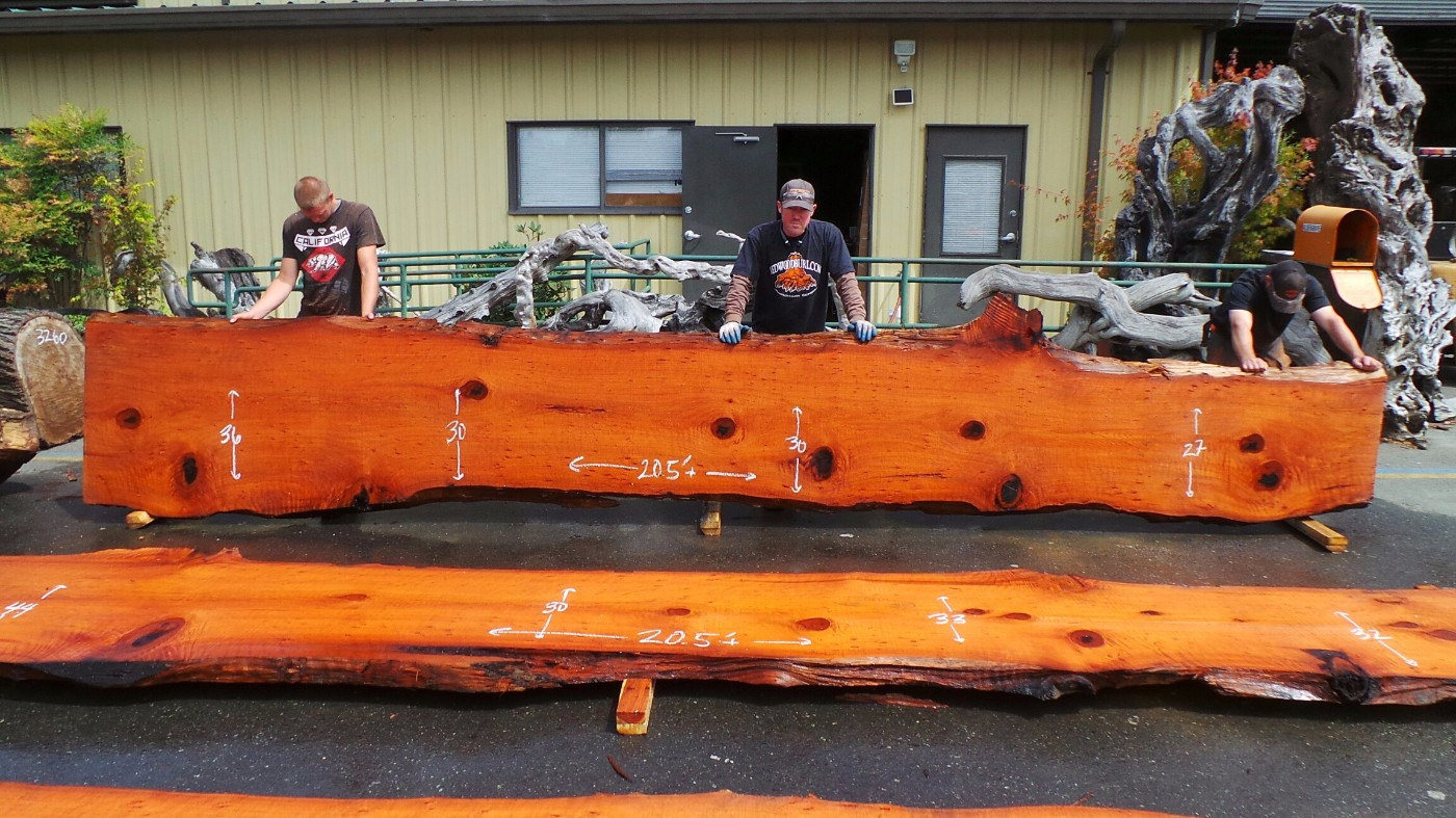 Redwood Slab for Kitchen Island or Bartop