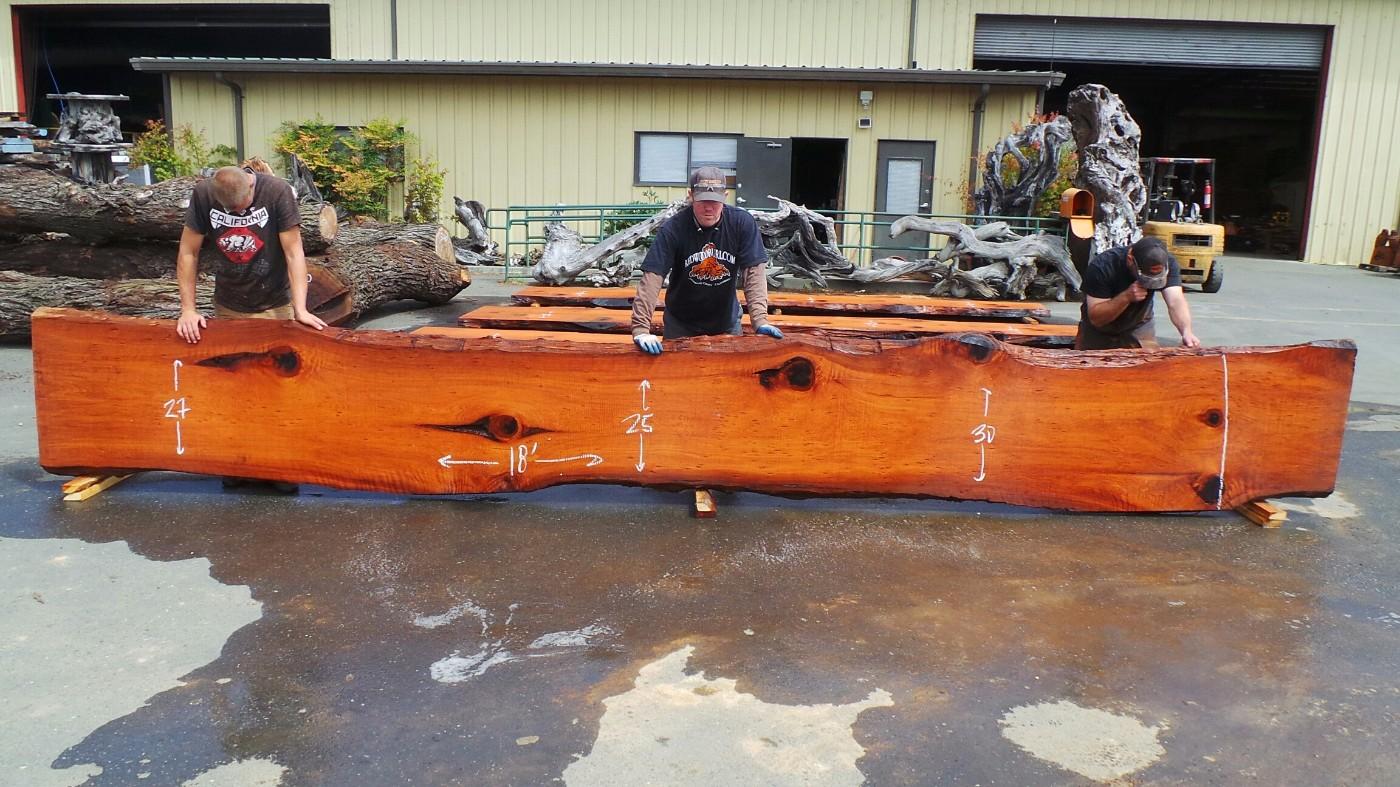 Floating Wood Bartop - Redwood Live Edge Growth Rings