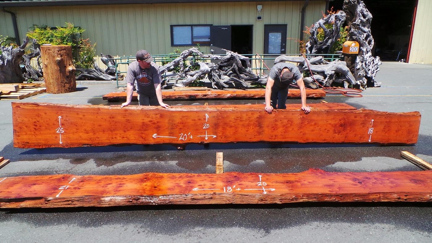 Natural Redwood Long Narrow Wood Rail - Cocktail Rail - Wooden Bartop