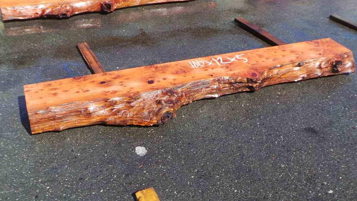 Live edge mantel - old growth redwood