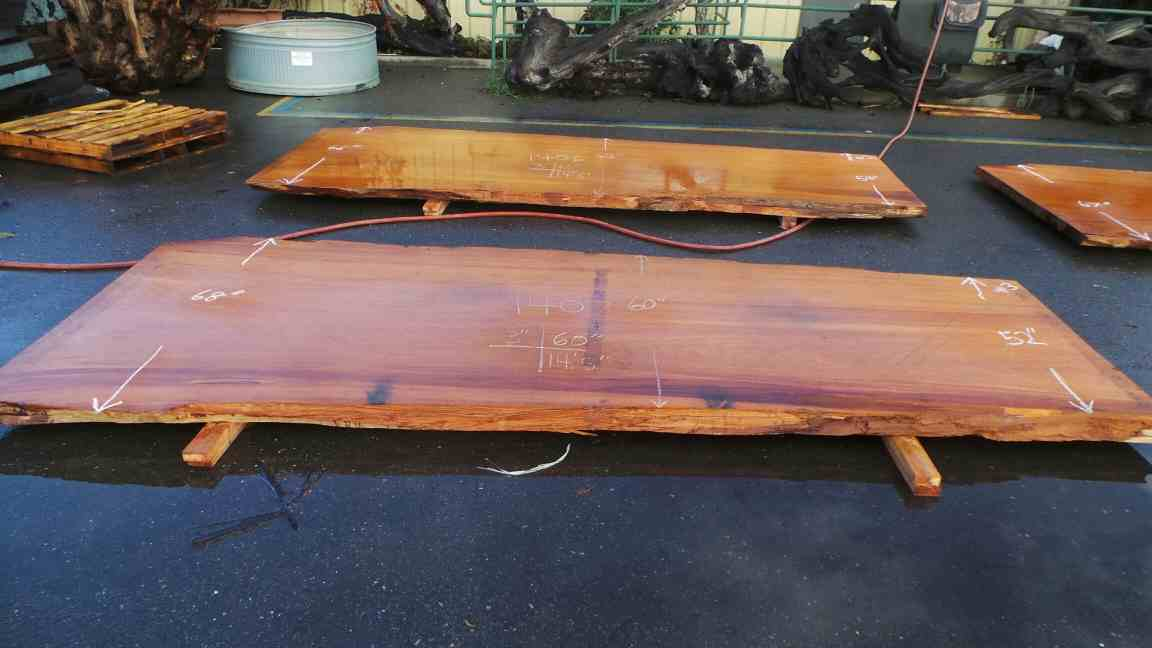 Wide old growth redwood slab for wooden table project or banquet table