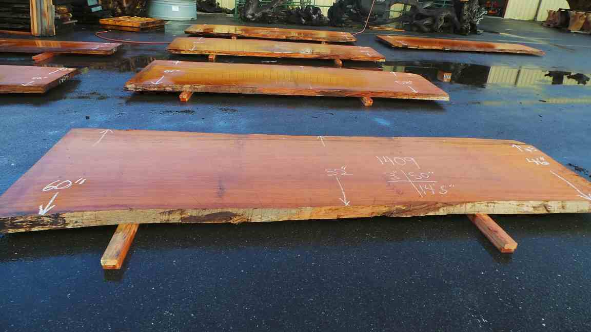 Redwood slab for solid industrial dining table