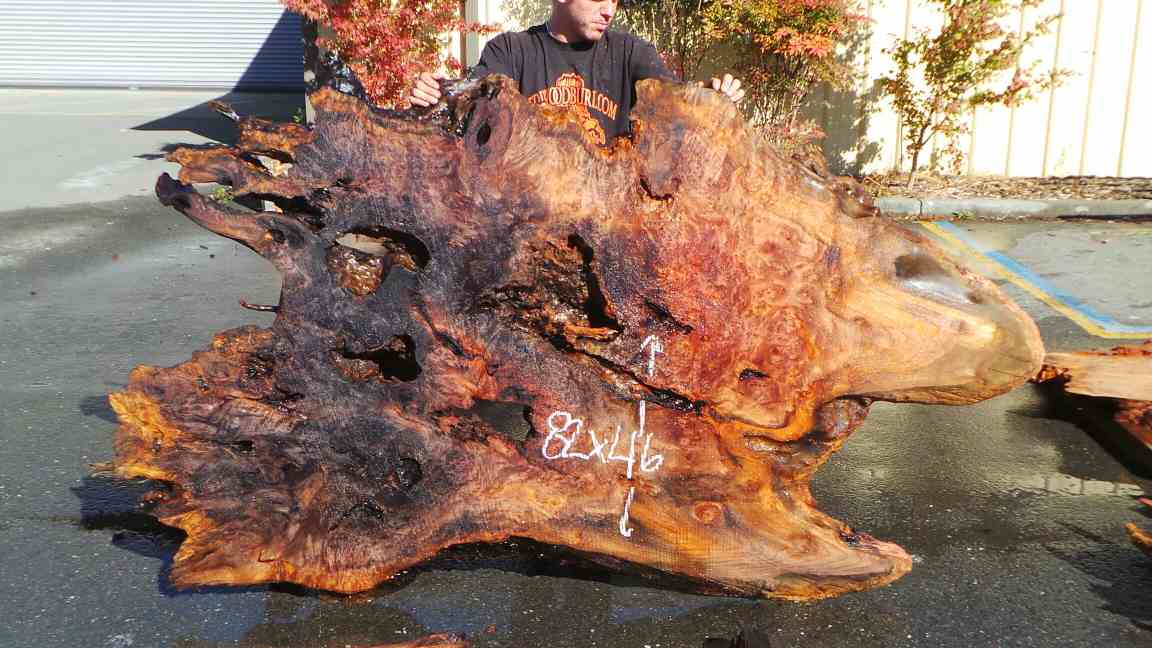 Live edge redwood slab - burl wood headboard