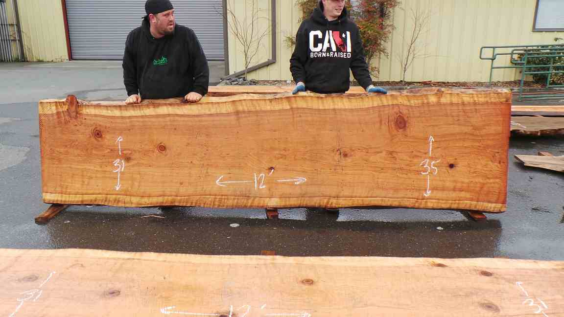 Rustic redwood slab for wooden bathroom counter or wooden kitchen counter