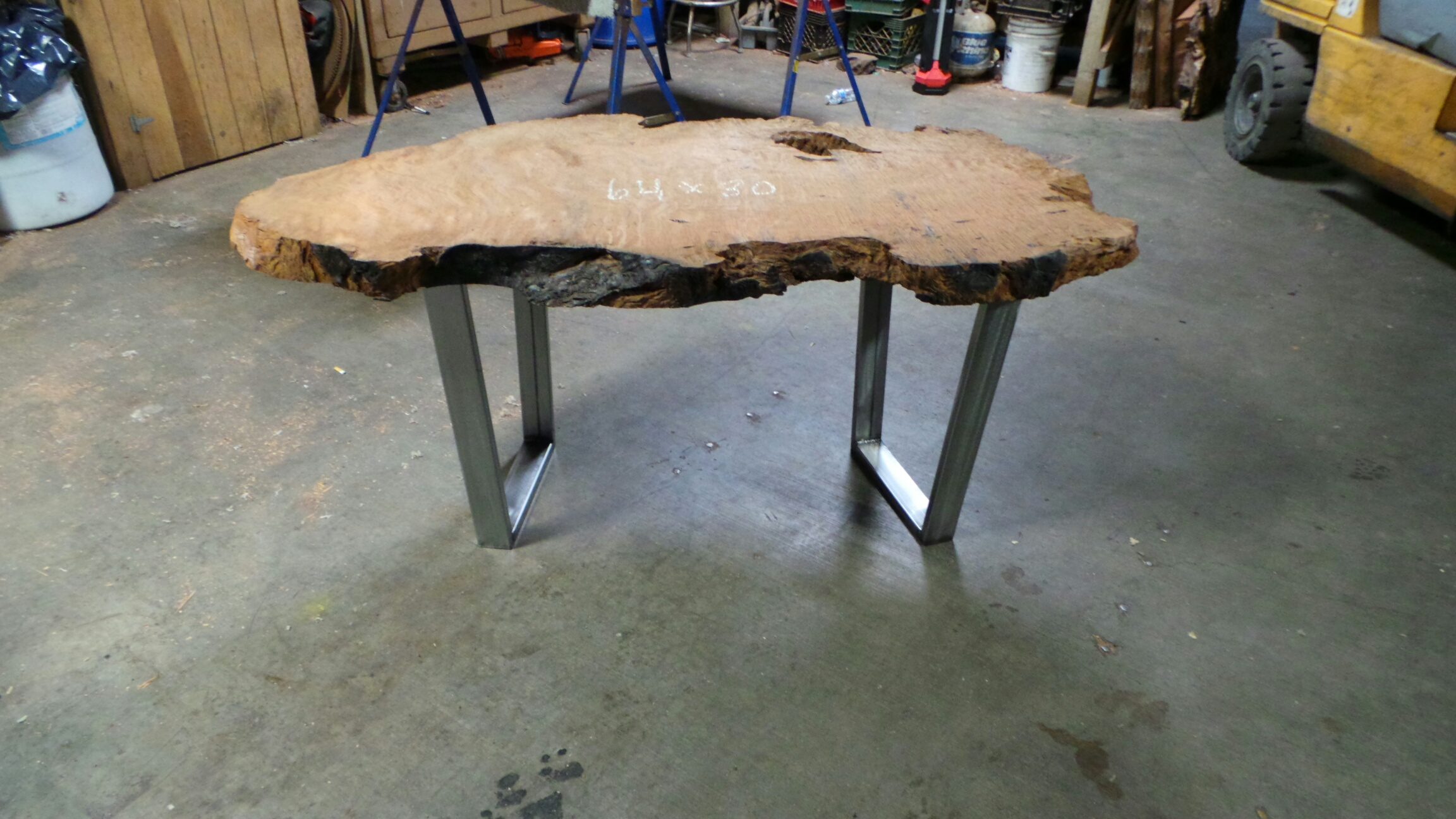unfinished redwood table with standard metal legs (polished steel)