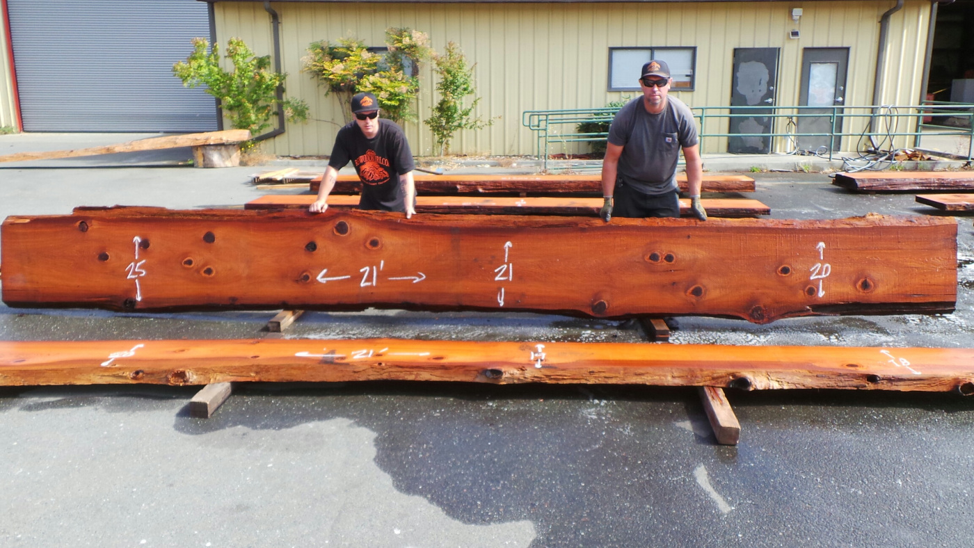 Long redwood slab ideal for countertops or bartops
