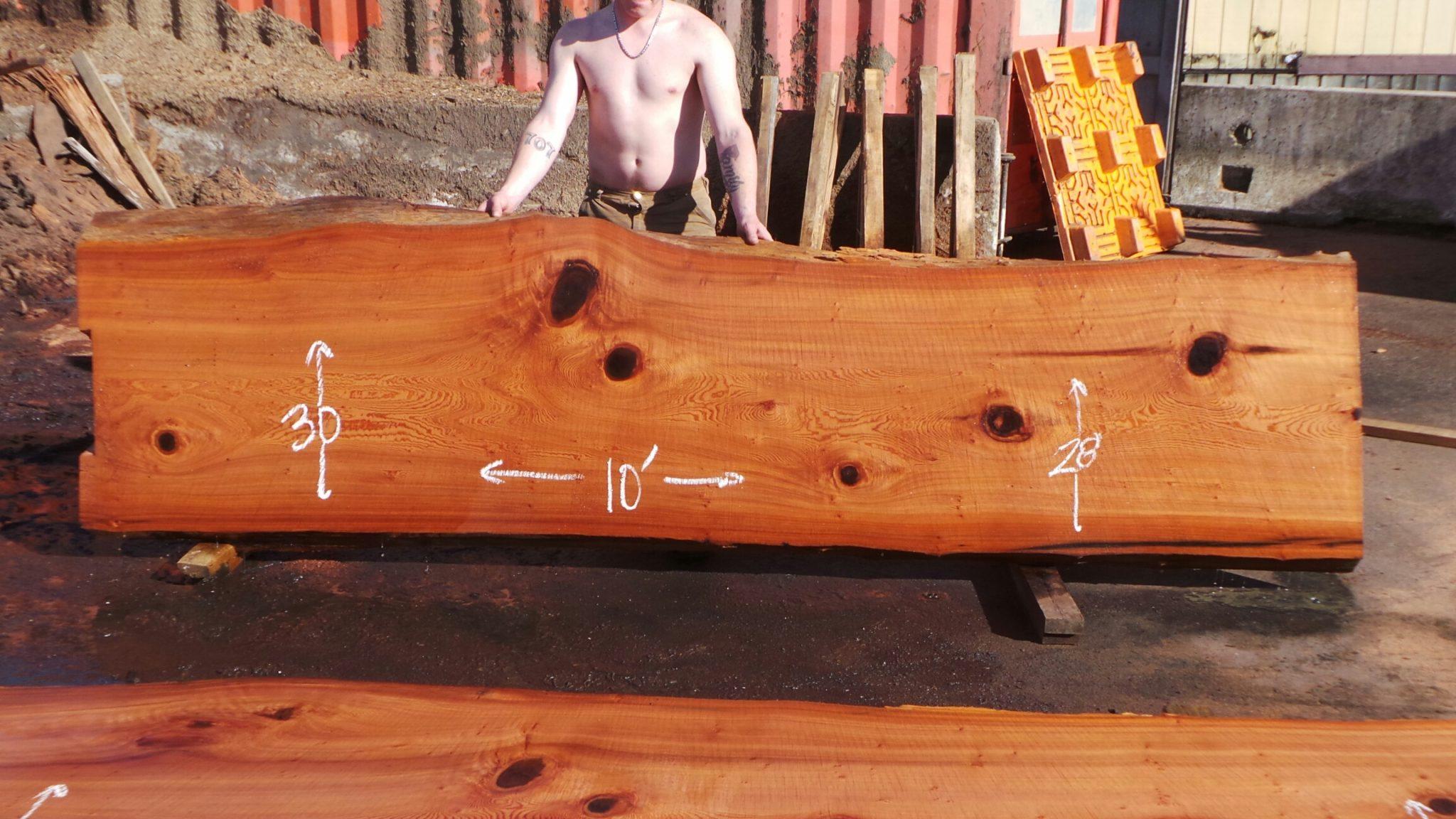 straight redwood bartop