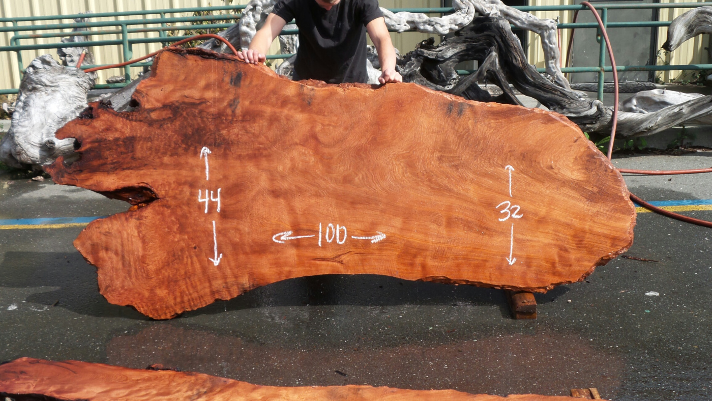 Old growth redwood dining table slab