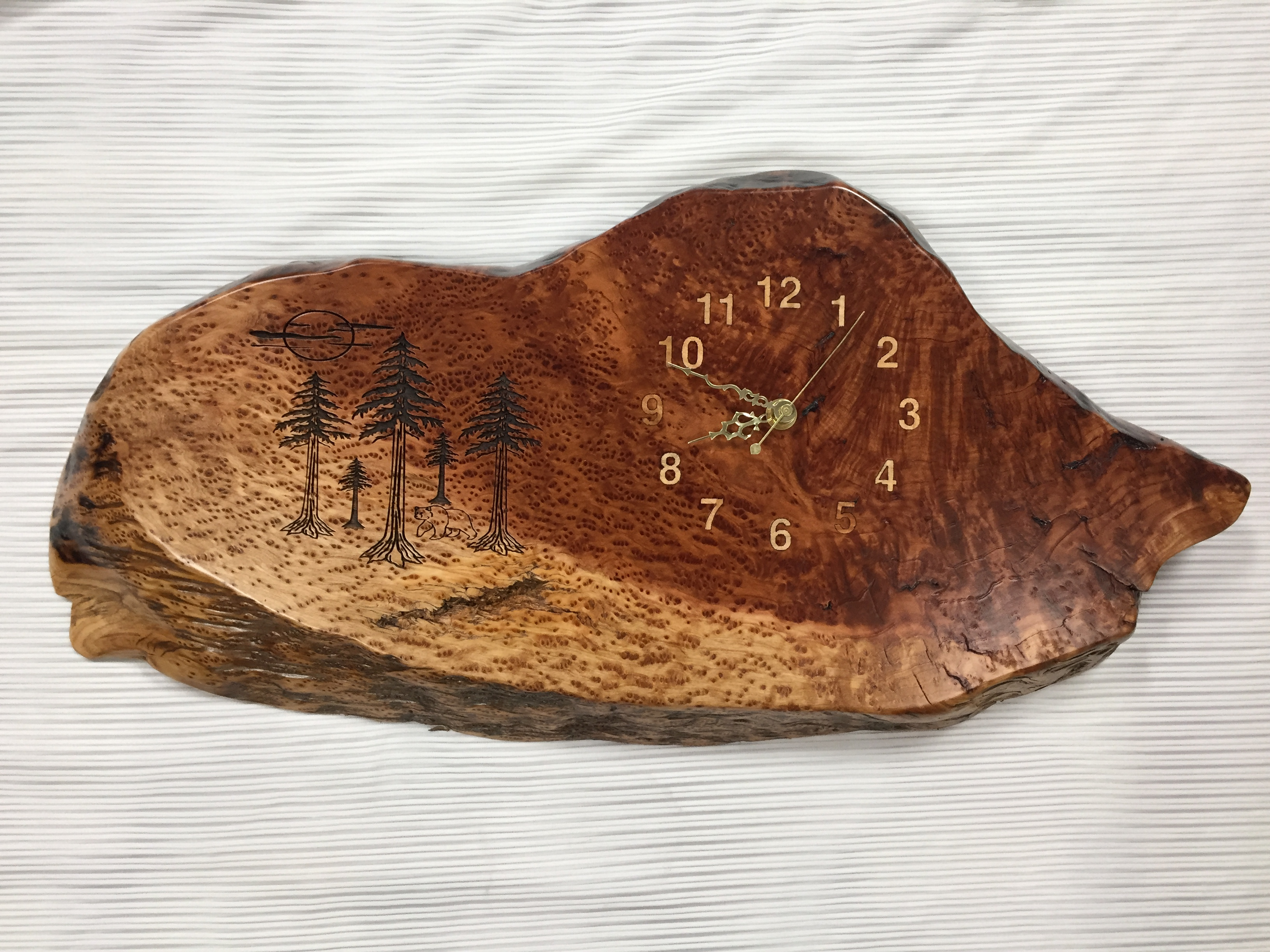 Laser Engraved Redwood Burl Clock