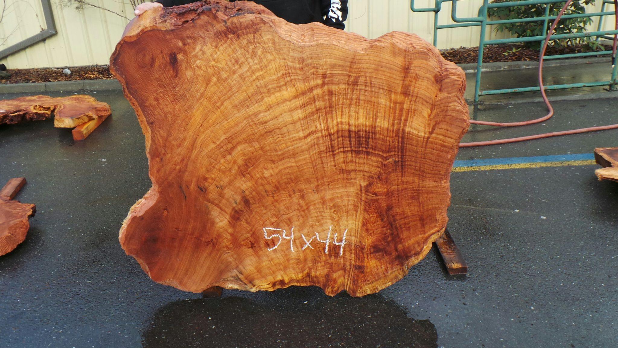 Wavy grain redwood slab