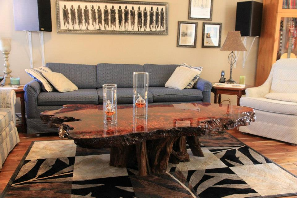 Live Edge Tree Trunk Redwood Coffee Table - Decorative Stump Table
