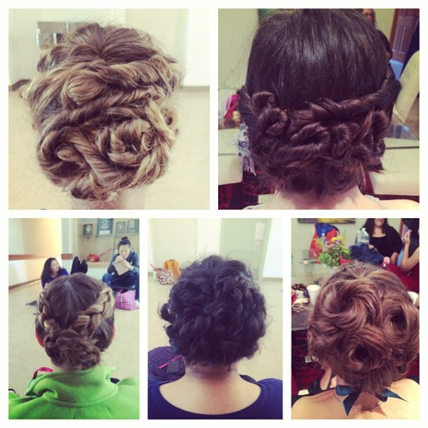 Photo of fancy hairdos for the scenes program. Elaborate buns, braided hair, and similar styles.