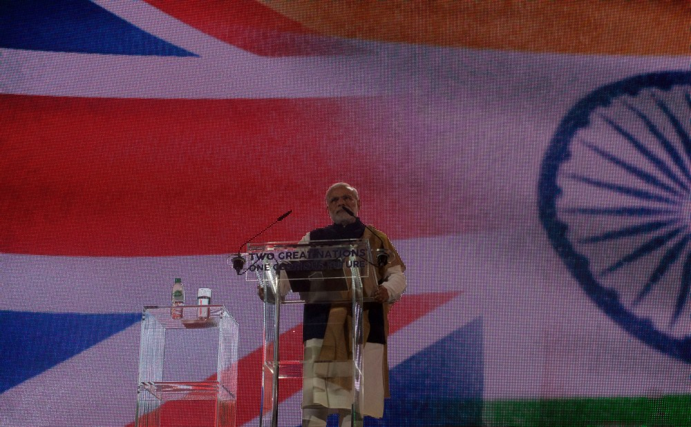 Indian Prime Minister Modi Greeted By Protesters At Wembley On His UK Visit (5/6)