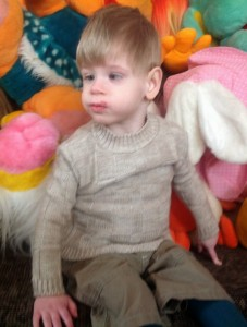 PD: Samuel appears to be sitting in front of a bunch of large stuffed animals. He wears a tan sweater & jeans, looking off to the side. He has blonde hair.