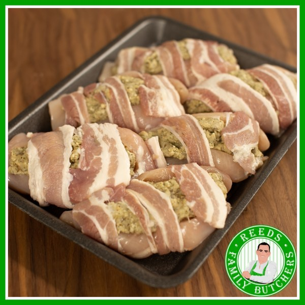 Buy a £10 tray of Stuffed Chicken Breast online from Reeds Family Butchers