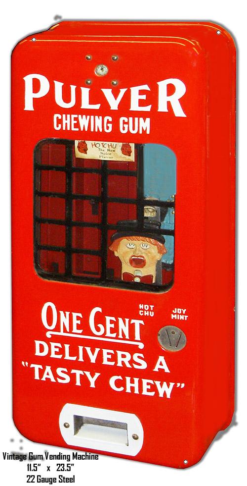 Vintage Gum Vending Machine Reproduction Cut Out Metal Sign 11.5x23.5