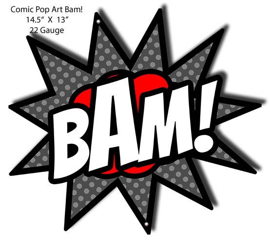 BAM Comic Pop Art Laser Cut Out Wall Art Metal Sign 13x14 5