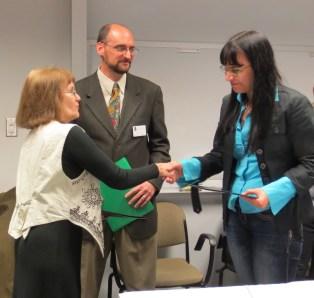 Carol Leff (Associate Professor of Political Science) congratulating the graduate student winner of the 2014 Yaro Skalnik Prize, Marina Filipovic