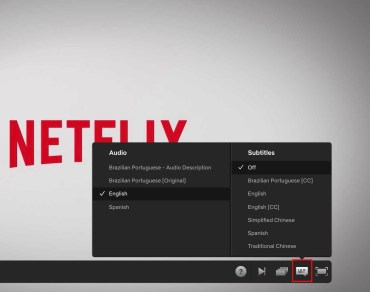 Netflix screenshot with Audio and subtitles shown on screen.
