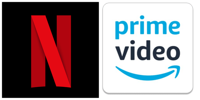 Two logo images of Netflix and Prime