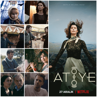 A photo montage of The Gift (Atiye). Main right side Netflix poster, 8 other photos of scenes from the show and another poster with young blonde girl.