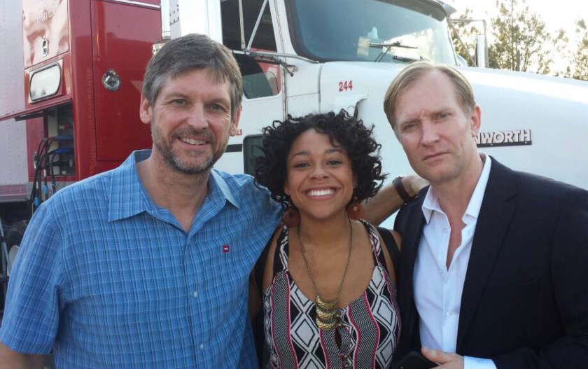 Photo of Tamara Austin with Rus Blackwell and Ulrich Thomsen behind the scenes of Banshee
