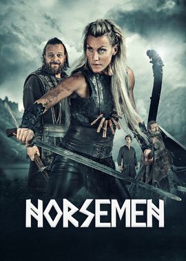 Norsemen poster with title of show in runic style and Slije Torp (Freya) and Kåre Conradi (Orm)