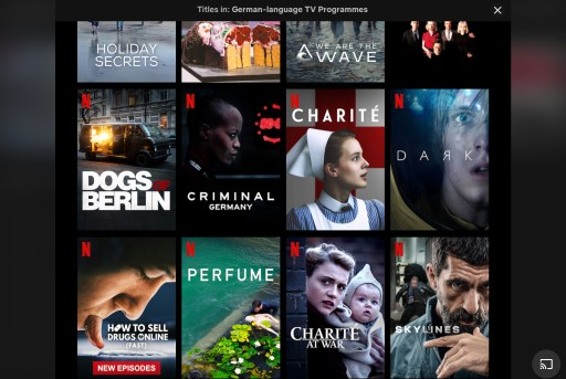 Image shows Netflix search results for German-language TV programmes