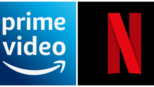 Image shows Prime Video (left) and Netflix (right) logos