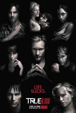 Image shows poster of True Blood and a variety of the main characters. Relating to the opening credits of True Blood