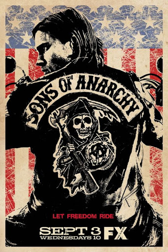 Image shows traditional 3 colour poster for Sons of Anarchy to tie in with article on the shows opening credits.